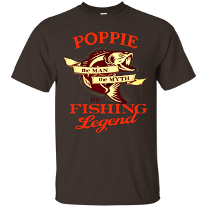 Mens Papa shirt POPPIE THE MAN THE MYTH THE FISHING LEGEND shirt
