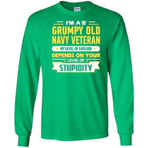 Men's I'm A Grumpy Old Navy Veteran My Level Of Sarcasm