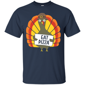 Turkey Eat Pizza Funny Thanksgiving T-Shirt Adult Day