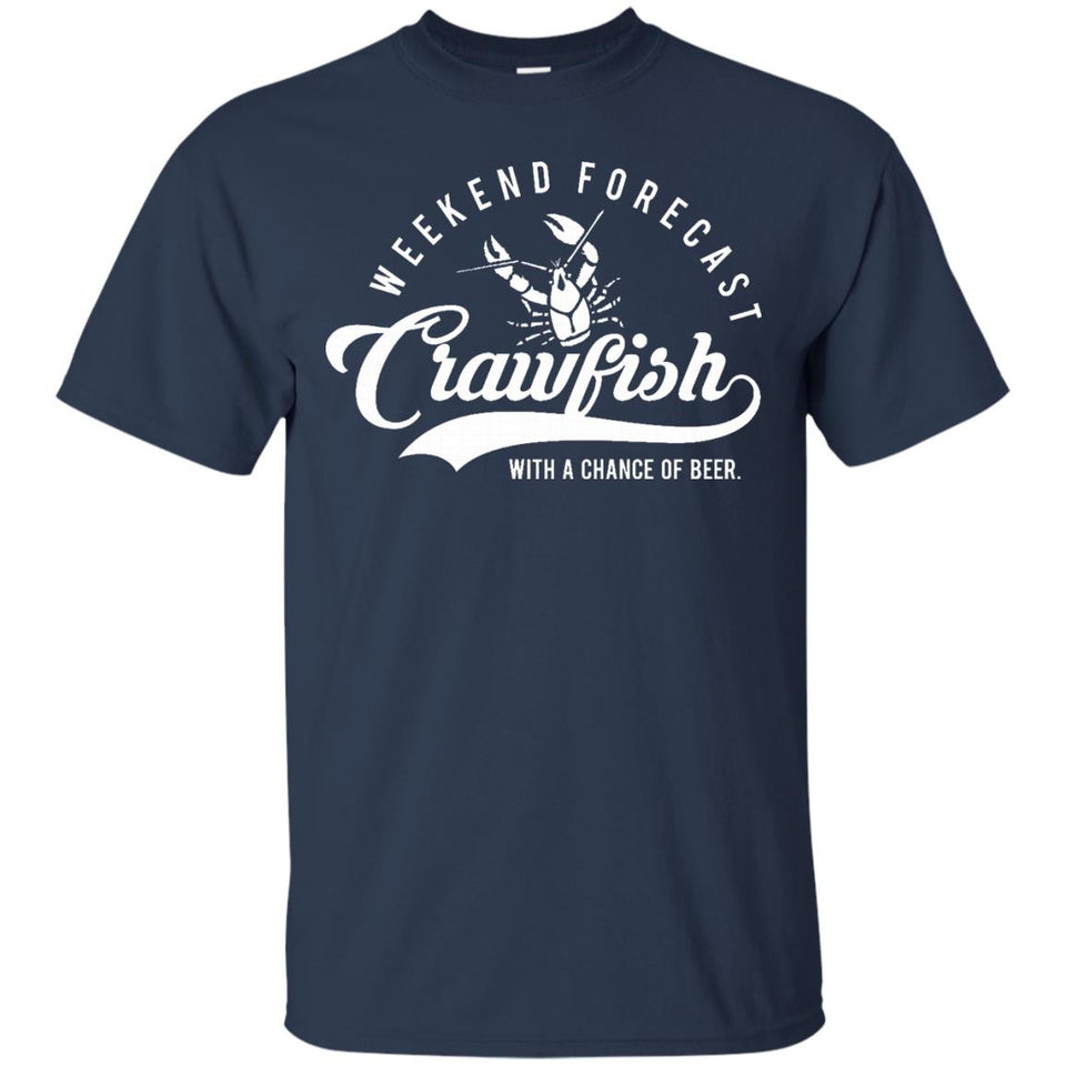 Crawfish T Shirt Weekend Forecast Cajun Boil and Beer Tee - Newmeup