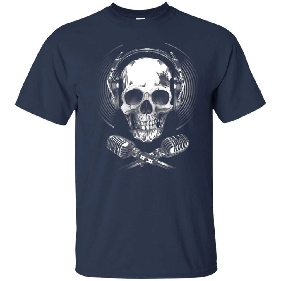 Headphone Microphone Music Skull Funny T-Shirt For Women Men