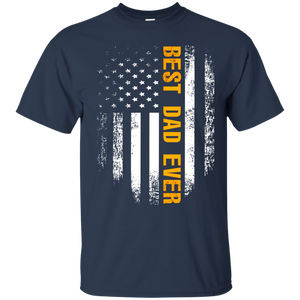 Men's Best Dad Ever T-Shirt American Flag Cool Father's Day