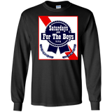 Saturdays Are For The Boys Shirt Blue Beer Ribbon Label Can SWEATSHIRT
