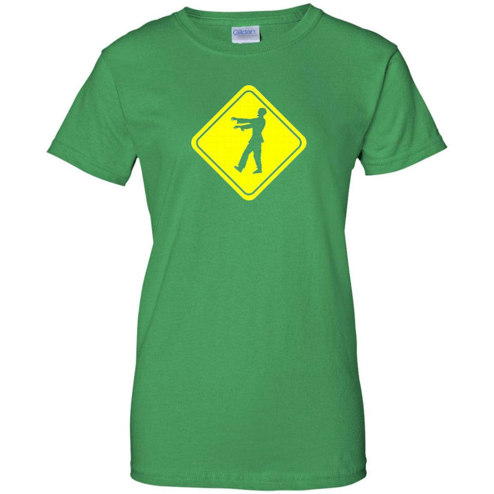 Zombie Crossing Road Sign Apocalypse Funny T-Shirt - Newmeup