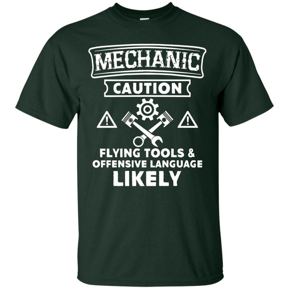 MECHANIC CAUTION T-shirt Flying Tools Offensive Language - Newmeup