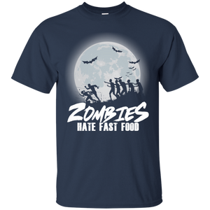 Zombies Hate Fast Food T-shirt funny Halloween Runner