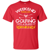 Men's Weekend Shirts Weekend Forecast Golfing and Drinking T-shirts