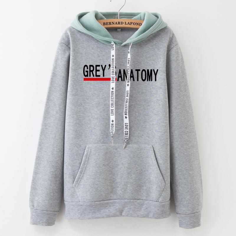 Greys Anatomy Hoodies Women Greys Anatomy Letter Color Matching Sweatshirt