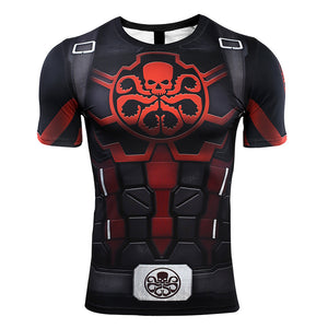 Hydra Captain American Men Avengers 4 Endgame Quantum War 3D Compression Shirt