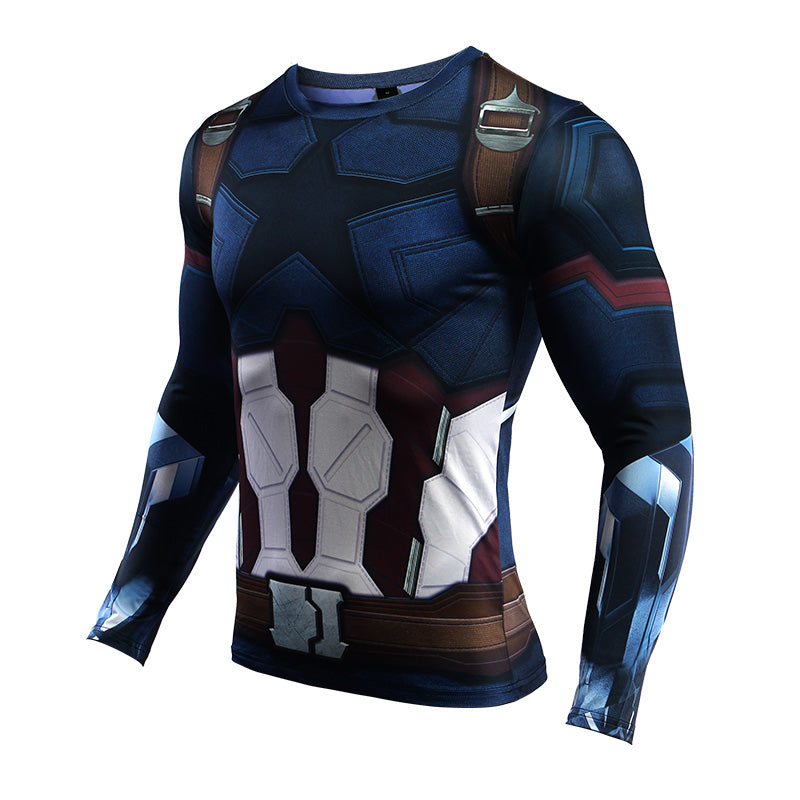Infinity Shirt Men's Captain America 3D Printed Long Sleeve Compression T-Shirt 2018