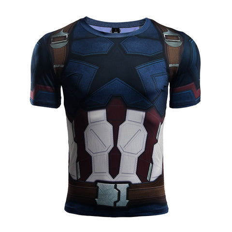 Infinity Shirt Men's Captain America 3D Printed Short Sleeve Compression T-Shirt 2018