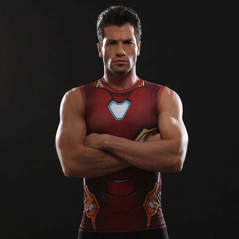 Infinity Shirt Men's Iron Man 3D Printed Compression Tank Top T-Shirt 2018