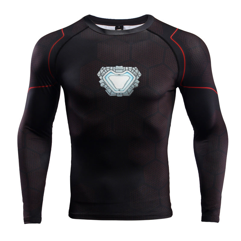 Infinity Shirt Men's Iron Man 3 Long Sleeve Compression Crossfit Top T-Shirt 2018