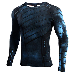 Infinity Shirt Men's Winter Soldier 3D Long Sleeve Compression Crossfit Top T-Shirt 2018
