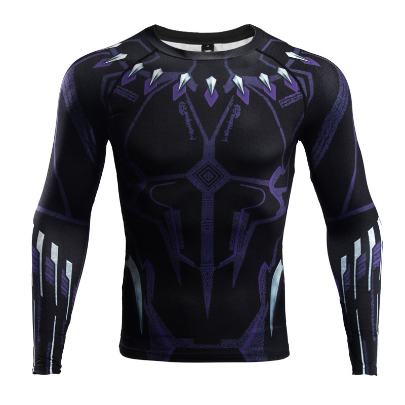 Infinity War Shirt Men's Black Panther 3D Printed Long Sleeve Compression Crossfit Tops Shirt 2018