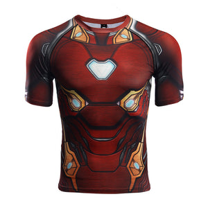 Infinity War Shirt Men's Iron Man 3D Printed Short Sleeve Compression Shirt 2018