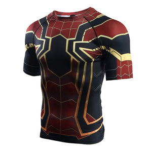 Infinity War Shirt Men's Spiderman 3D Printed Short Sleeve Compression Crossfit Tops Shirt 2018