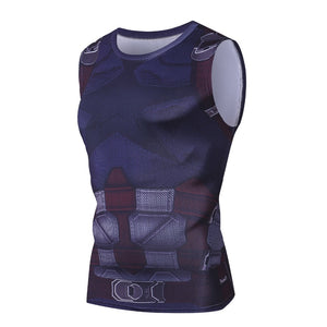 Marvel Captain America Tank Top Men Gym compression