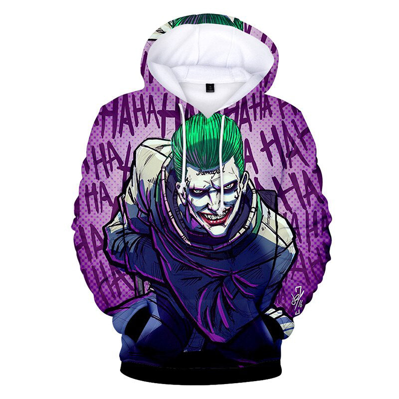 Joker Hoodie 3D Printed Funny Joker with Gun Cosplay Costume 2019