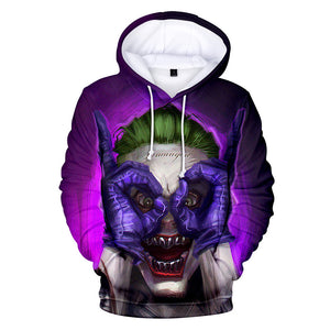 Joker Hoodie Joker with Purple Gloves and Green Hair Cosplay Costume 2019