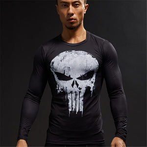 Punisher Long Sleeve Compression Shirt (Punisher 3d Tshirts)