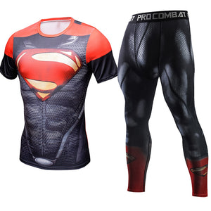 Red SuperMan Cosplay Set Costume Short T-shirt for Men