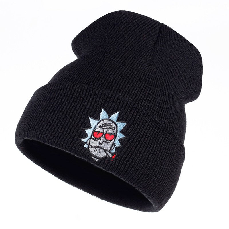 Rick Smoking Red Eyes Cap Rick and Morty Embroidery Skull Beanie