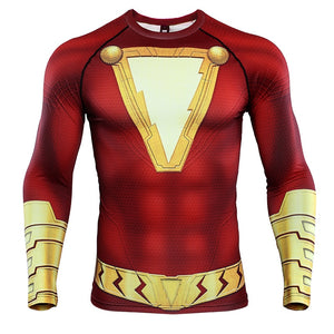 Shazam 3D Printed T shirts Men Long Compression Shirts 2019 Tops Male Comics Cosplay Costume