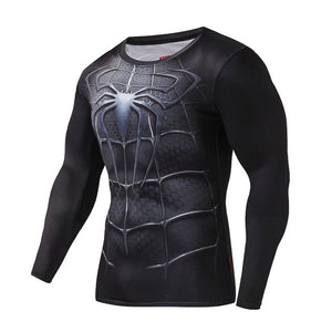 Spiderman Black Long Sleeve Compression Shirt (Spiderman  3d Tshirts)