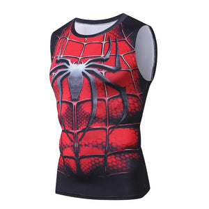 Spiderman SuperHero Black Spider Design Fitness Compression Tank Top