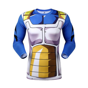 Vegeta Long Sleeve Battle Torn Armor Compression Shirt (Vegeta 3D Tshirts) - Newmeup