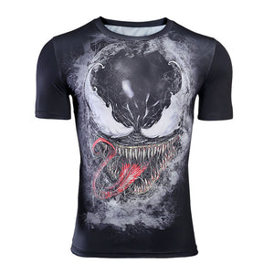 Venom Shirt Men's Venom Cosplay Costume 3D Printed Short Sleeve Compression