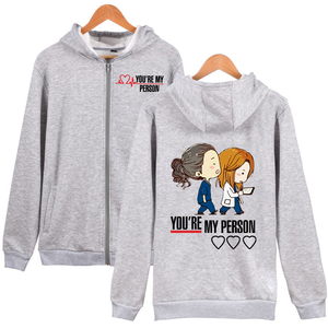 Greys Anatomy Sweatshirt You are my person Zipper Hoodie