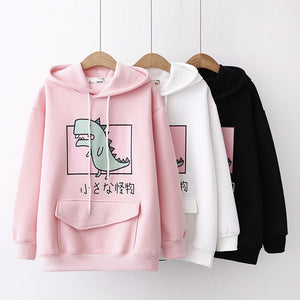 Cute Japanese Little Dinosaur Unisex Thick Hoodies Cartoon Dinosaur Printed Sweatshirt Women's Drawstring Pullover