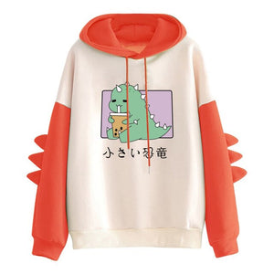 Dinosaur Sweatshirt Women Casual Hoodies Dino Print Long Sleeve Sweatshirts With Horn