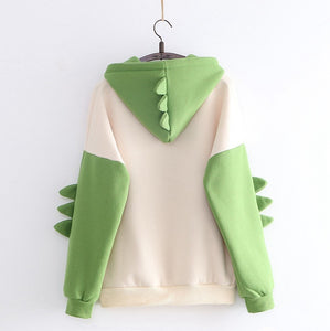 Girl Dinosaur Sweatshirt Cute Green Dino Print Hoodie Sweater With Horn