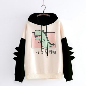 Cute Dinosaur Little Monster Hoodie Sweater Women Patchwork Harajuku Kawaii Dino Long Sleeve Splice Dinosaur Sweatshirt