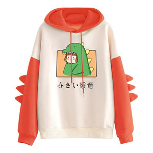 Kawaii Dinosaur Sweatshirt Cute Japanese Little Dinosaur Unisex Hooded Kawaii Clothing
