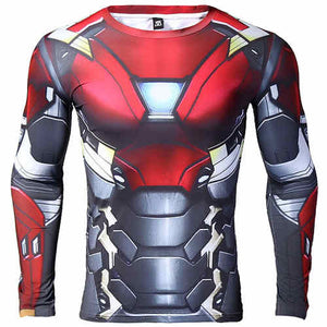 Iron man 3D Printed T shirts Men Long Sleeve Compression Shirt 2017