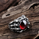 Red Black Opal Stone Skull Dragon Claw Finger Ring