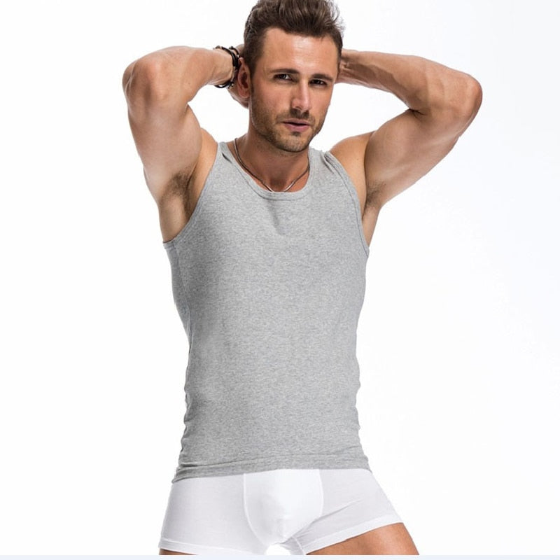 Fitness Elastic Casual O-neck Breathable All Cotton Solid Undershirts Tanks Top