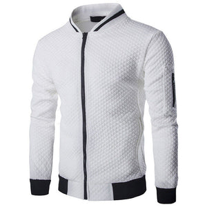 White Casual Zipper Jacket Stand-Neck Sudaderas Hombre