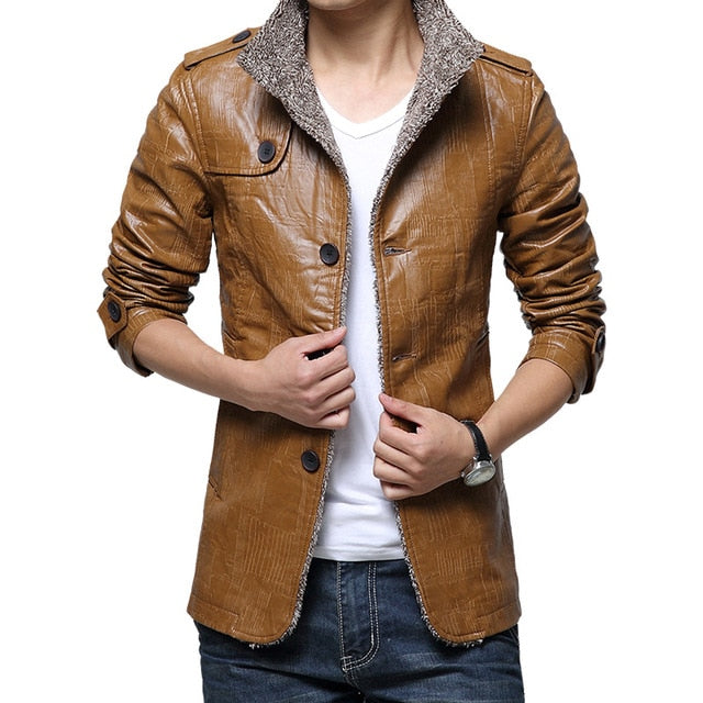 Winter Warm Faux Leather Jacket