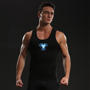 Avengers 4 Iron Man Shirts Men Cotton Lycra Tank Top Compression Shirts