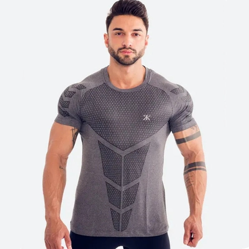 Mens Running Sports Shirts Gym Fitness Training Compression Skinny T-shirt