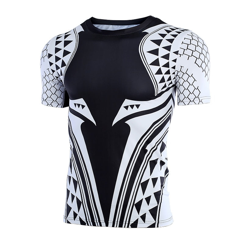 Black Aquaman Shirt Men's Aquaman 3D Printed Short Sleeve Compression Crossfit Tops Shirt 2018