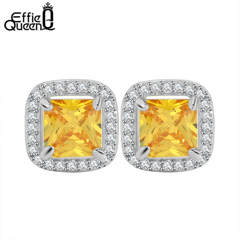 Boucles d'oreilles serties zircon jaune Effie Queen