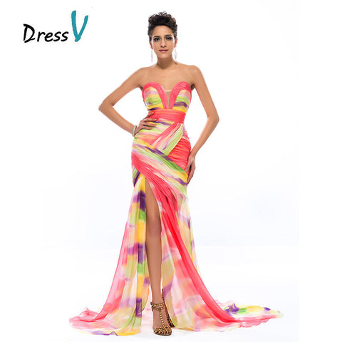 Robe de soirée sirène mousseline multicolore bustier - Collection 2017 - Dress V