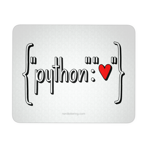 """Python Heart Dictionary"" Mouse Pad"