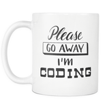 """Please go away, I'm coding"" Developer Mug (White)"